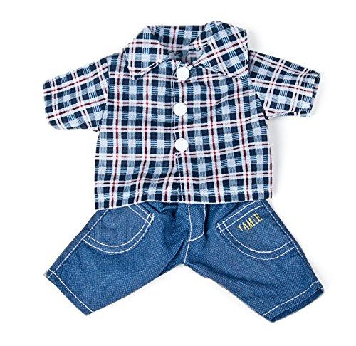 Miniland Doll Jeans & Plaid Shirt, 12 5/8