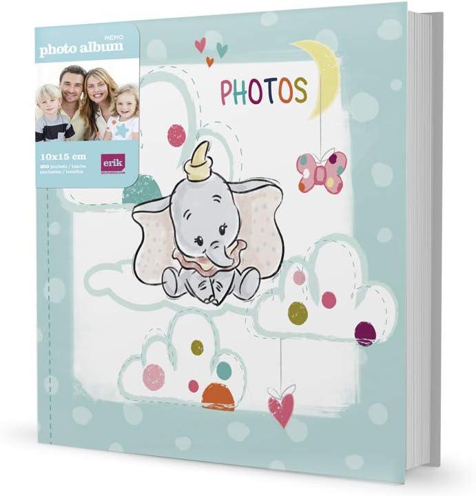 21,5 x 22,3 x 5,2 cm Gris Dumbo 200 Bolsillos Grupo Erik AF200101509 /Álbum de Fotos Disney