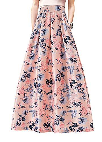 Novia's Choice Women African Floral Print Pleated High Waist Maxi Casual A-Line Skirt(Pink&Flower XL)