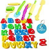 Carykon Set of 32 PCS Smart Dough Tools Kit with Models and Molds , Alphabet