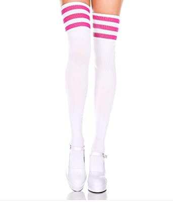 1ab599e0a Ladies/Women White Thigh High Over The Knee Referee Socks with Pink  Stripes: Amazon.co.uk: Clothing