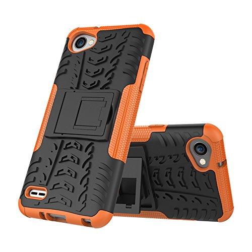 OFU®Para LG Q6 Plus Smartphone, Híbrido caja de la armadura para el teléfono LG Q6 Plus resistente a prueba de golpes contra la lucha de viaje accesorios esenciales del teléfono-blanco naranja