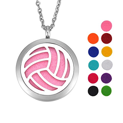 Volleyball Essential Oil Diffuser Necklace Stainless Steel Locket Pendant with 24
