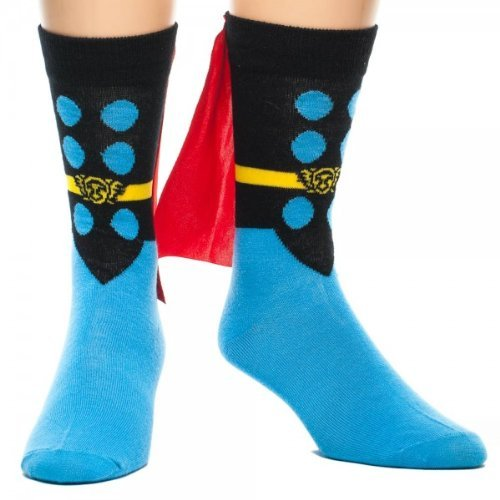 Marvel Thor Adult Crew Sock with Red Cape