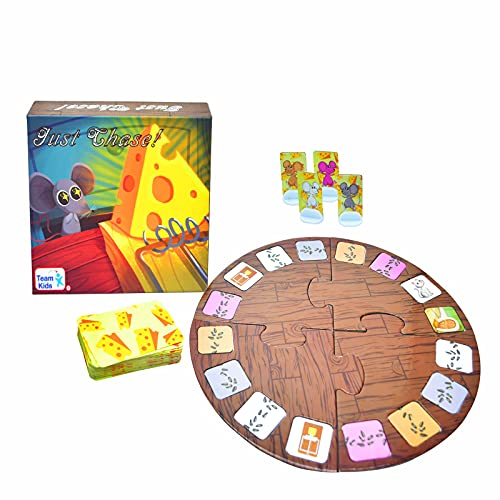 """Board Game Adventure for Family, """"Just Chase"""" Card Game with Cheese Trap, Cute Cat Card Family Party Game for 5 Years&Up, 2-6 Players"""