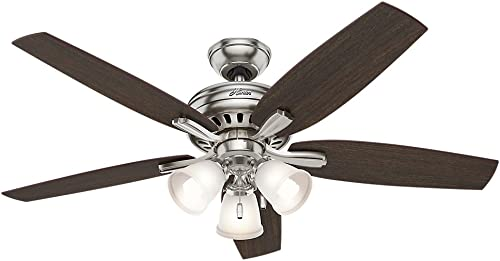 Hunter Fan Company Hunter 53318 Transitional 52 Ceiling Fan from Newsome collection in Pwt, Nckl, B S, Slvr. finish, Brushed Nickel
