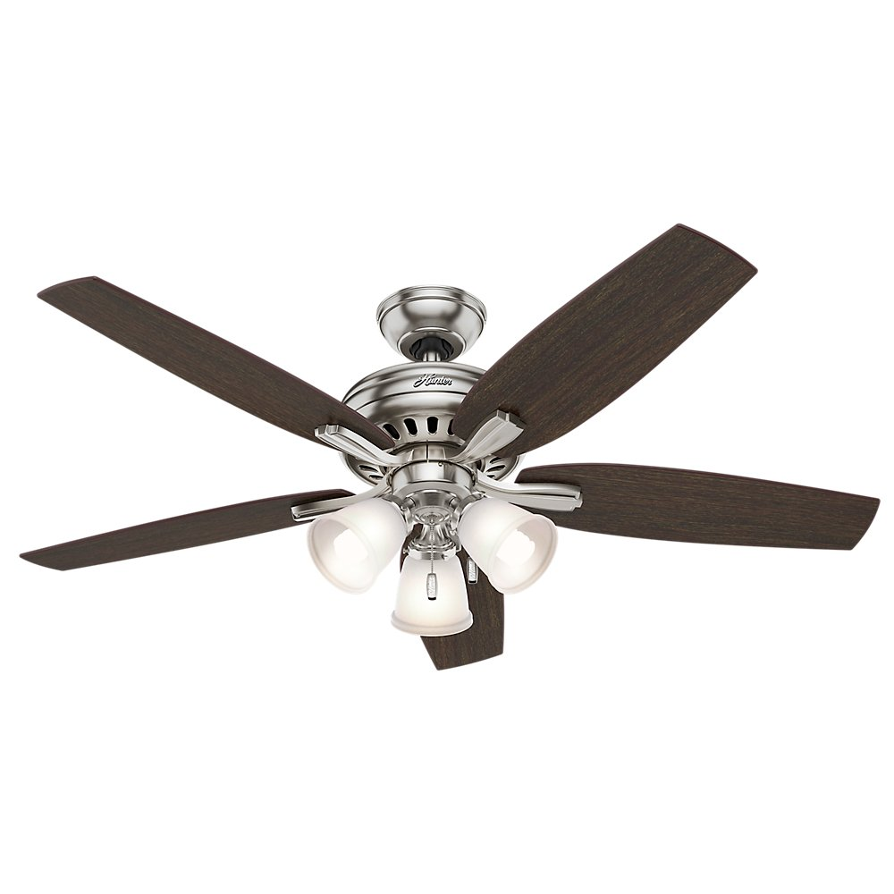 "Hunter 53318 Newsome Ceiling Fan with Light, 52""/Large, Brushed Nickel - -  Amazon.com"