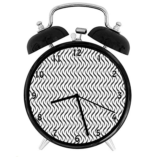 22yiihannz Dark Circles Multiple s Swirl Arrangement Abstract Wavy Geometric,Battery Operated Quartz Ring Alarm Clock for Home,Office,Bedroom, White_4inch
