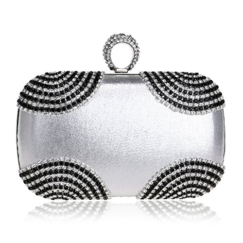 Dress Ladies Evening YUEER Clutch Silver Bag Messenger Shoulder Banquet Silver Bag Evening Gown EwRpwq