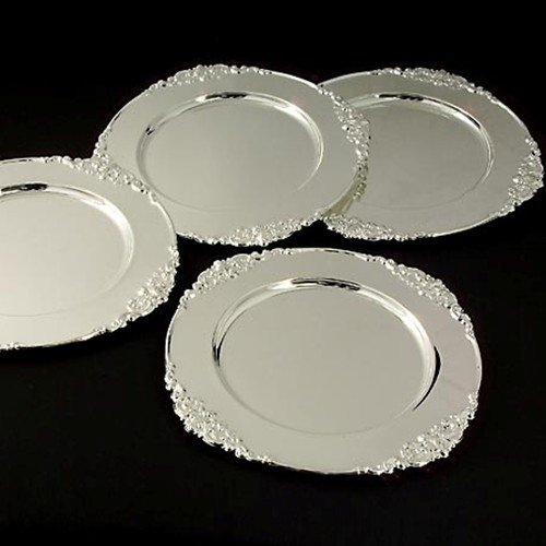 amazon baroque chargers set plate charger service plates square silver wholesale beaded rental