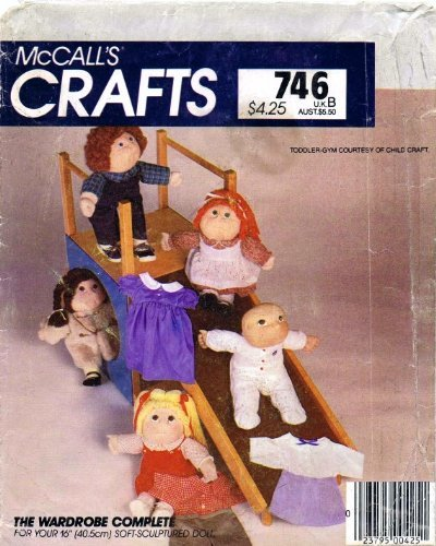 McCall's 746 Crafts Sewing Pattern Soft Sculpture Doll Clothes Wardrobe