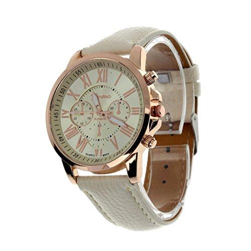 Zulmaliu Classic Quartz Women Men PU Leather Band Roman Numerals Dial Lady Teen Girl Wristwatches (Beige)