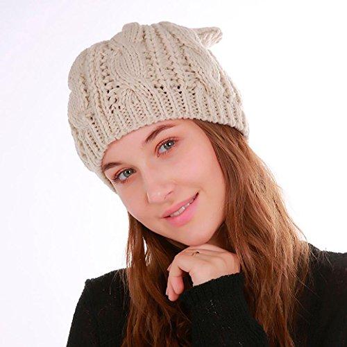 Women Winter Warm Weave Crochet Wool Knit Ski Beanie Skull Caps Hat (Beige)