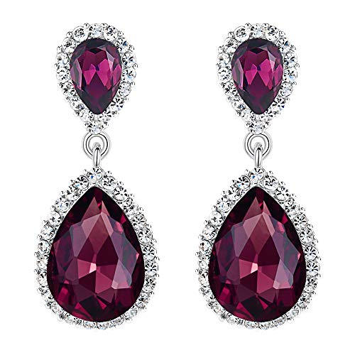 (EVER FAITH Women's Austrian Crystal Wedding Tear Drop Dangle Earrings Purple Silver-Tone)