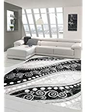 Modern tapijt Oosters kleed met glitter draad ornamenten in grijs zwart crème maat 160x220 cm