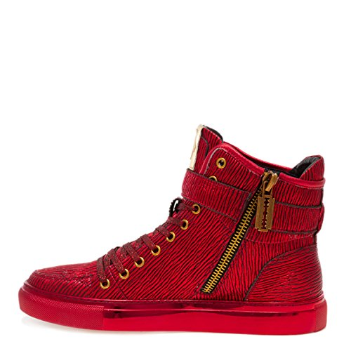 High Sneaker Newyork Up Sullivan Strap Painted Hand Top Men and Lace Zipper Leather Red Inside Toe Round s Bark Stretch Jump T6Zxvn6