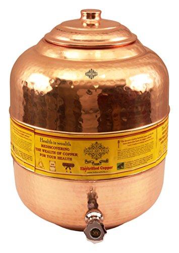Villa Pot - Indian Art Villa Small Copper Water Dispenser Pot Tank, for Storage Water, 541 Ounce