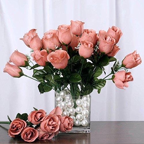 Efavormart 84 Artificial Buds Roses for DIY Wedding Bouquets Centerpieces Arrangements Party Home Decorations Supplies - Blush
