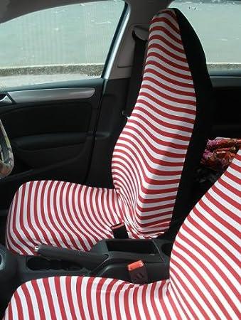 Autositzbezügen Zwei Vordere Auto Sitzbezüge In Rot Und Weißen Streifen Auto