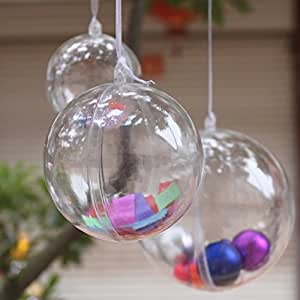 StillCool Clear Plastic Fillable Ball Christmas Ornament Baubles - Pack of 12 (60mm)