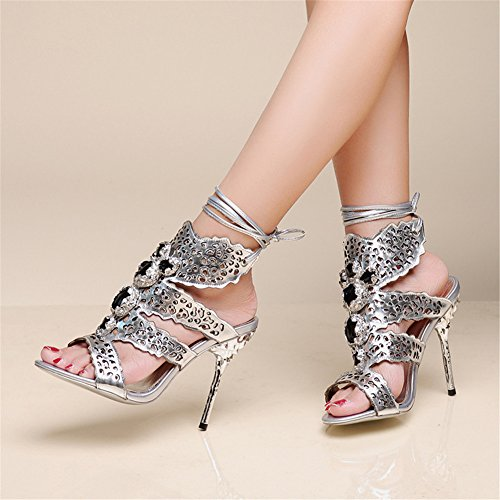Strap Silver Pump Genuine Leather Nine Womens Heel Stiletto Seven Ankle O0nxwU1