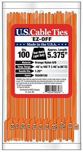 [해외]미국 케이블 타이 TA5OR100 Tear, Tay, Orange, 100-Pack에서 벗어난 5.4 인치 EZ/US Cable Ties TA5OR100 5.4-Inch EZ Off Tear Away Ties, Ora