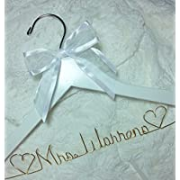 Wedding Dress Hanger choice of 12 Bow Colors - Personalized Bride Name - White or Dark Hanger - Gold wire Bridal Bridesmaid Gift With or Without Wedding date