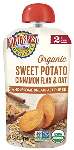 Earth's Best Organic Stage 2 Baby Food, Sweet Potato Cinnamon Breakfast, 4 oz. Pouch (Pack of -