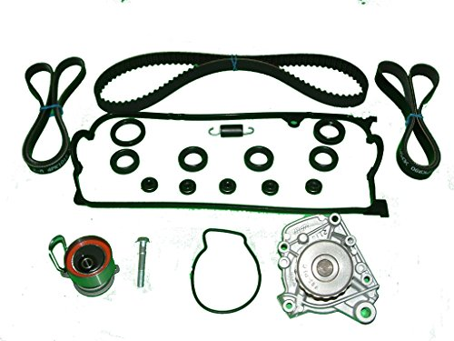 (Timing Belt Kit Replacement For Honda Civic 2001 to 2005 1.7 LX DX EX WATER PUMP TIMING BELT TWO DRIVE BELTS VALVE COVER GASKET SET SEALS TENSIONER AND SPRING)