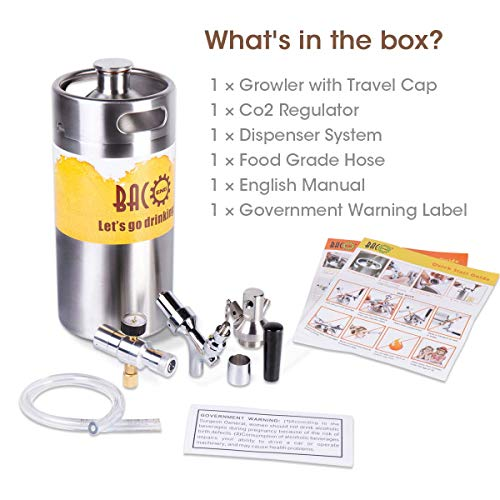 BACOENG 128 Ounce Pressurized Keg Growler, Kegerator for Home Brew Beer with Updated CO2 Regulator by BACOENG (Image #5)