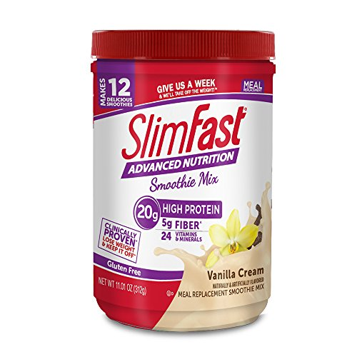 SlimFast – Advanced Nutrition High Protein Smoothie Powder – Meal Replacement – Vanilla Cream – Great Taste – Great for Recipes – 11 oz. Canister