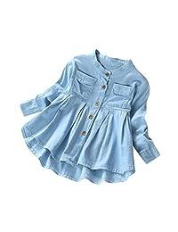 IEason Toddler Kid Baby Girls Denim Ruched Long Sleeve T-Shirt Tops Blouse Clothing