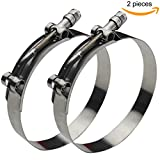 Ronteix Full 304 Stainless Steel Adjustable Hose Clamp Lock Nut T-Bolt Clamps (70~78mm, 2 Pack) for 2-1/2'' Hose