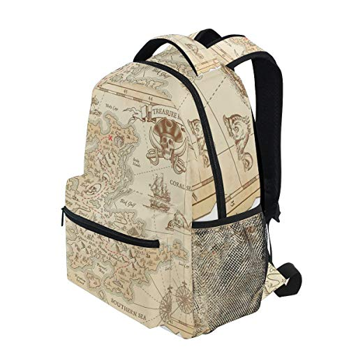 KVMV Old Ancient Antique Treasure Map with Details Retro Color Adventure Sailing Pirate Lightweight School Backpack Students College Bag Travel Hiking Camping Bags (Light Treasures Ancient)