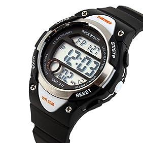 USWAT Children Watch Outdoor Sports Kids Boy Girls LED Digital Alarm Stopwatch Waterproof Wristwatch Children's Dress Watches Black
