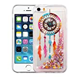Apple iPhone SE 5S 5 Case - Wydan Slim Hybrid Liquid Bling Glitter Sparkle Quicksand Waterfall Shockproof TPU Phone Cover - Dreamcatcher
