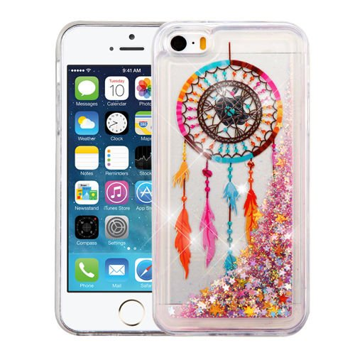 Wydan Compatible Case for iPhone SE 5S 5 - Slim Hybrid Liquid Bling Glitter Sparkle Quicksand Waterfall Shockproof TPU Phone Cover - Dreamcatcher for Apple ()