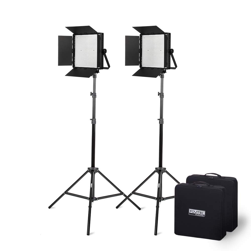 Fovitec - Portable 2-Light 600 LED Bi-Color Panel Kit for Video & Photo with DMX, V-Lock Mount, Case, and Stands by Fovitec