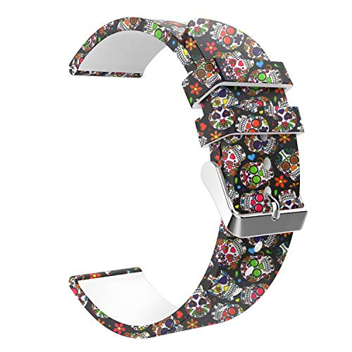 Emibele 22mm Universal Watch Band, Premium Soft Silicone Tabby Print Pattern Adjustable Replacement Strap for 22mm Sport Strap, Colorful skull