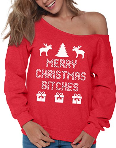 Vizor Merry Christmas Bitches Ugly Christmas Sweatshirt for Women Xmas Sweater Red S (Merry Shirt Christmas Bitches)