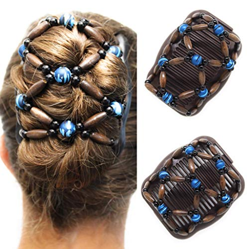 Clip Fancy (FANCY COMBS Wooden Thick Hair Clips, The Best Hair Accessories for Women – Bun Holder, French Twist Holder, Ponytail – Decorative Hair Combs with Interlocking System. (Brown, Blue Beads))