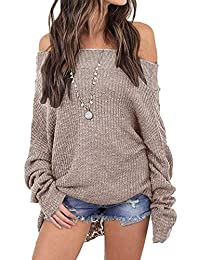 Fasumava Women Knit Tops Spring Autumn Hot Off The Shoulder Baggy Sweaters