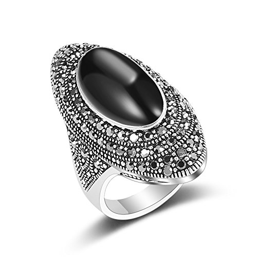 Mytys Vintage Bohemian Black Marcasite Crystal Women Cocktail Rings(6)