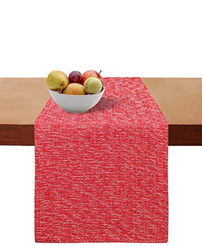 Cotton Clinic Table Runner Farmhouse Tweed 108 Inches, 16x108 Wedding Table Runner, Rustic Bridal Shower Decor Table Runner, Decorative and Elegant Dining Table Runner Red