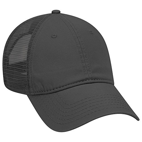 - OTTO Garment Washed Cotton Twill 6 Panel Low Profile Mesh Back Trucker Hat - Black