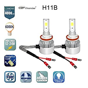 GP Thunder GP-LH-H11B Headlight Bulb(80W 6000K 8000LM for Low Or High Beam Direct Fitment), 2 Pack