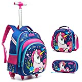 Meetbelify 3Pcs Rolling Backpack for Girls with Lunch Bag Pencil Case School Bags Wheeled Unicorn Rolling Backpack