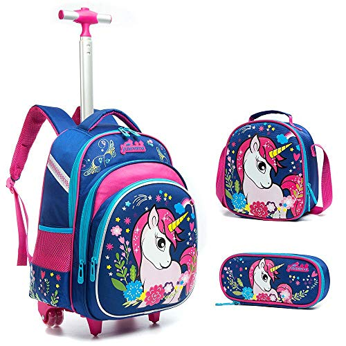 Meetbelify 3Pcs Rolling Backpack for Girls with Lunch Bag Pencil Case School Bags Wheeled Unicorn Rolling Backpack (Back Bag Wheeled)