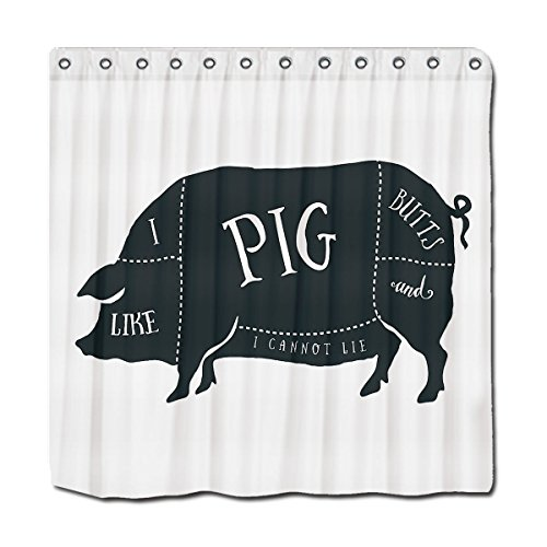 Funny Shower Curtain I Like Pig Butts And I Cannot Lie With Hoks By JackieTD 36x72 INCHES