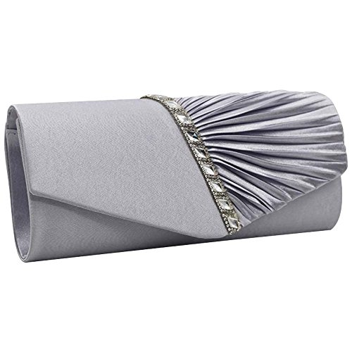 Pleated Evening Diamante Blue Silver Royal Party Satin Bridal Clutch Purse Wedding Handbag Wiwsi xT0Zwx